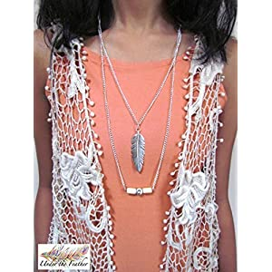 Under the Feather Layered Necklace- Silver Feather