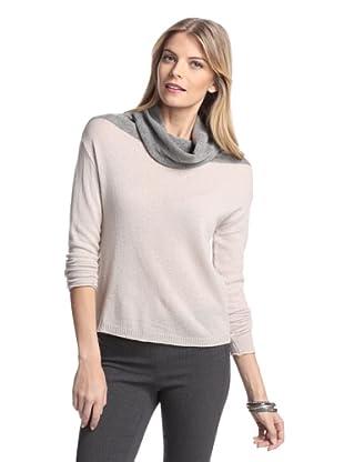 Cullen Women's Funnel-Neck Cashmere Sweater (Mushroom/Cloud)