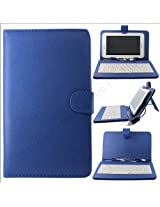 Dark Blue QWERTY Keyboard Case Stand for Samsung Galaxy Tab 2 P3100 + OTG + Screen + DMG Wristband