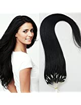 """18"""" 50g 100s Micro Ring Loop 100% Human Hair Extensions Natural Soft Real Beauty Straight Hair Gift 100strands In One Pack, (Color #01 Jet Black)"""