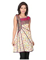 18 FIRE Cotton Printed Kurti with Assymetrical Neckline and Brocade work
