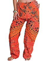 Exotic India Casual Trousers from Jodhpur with Printed Marriage Procession - Color Ember GlowGarment Size Free Size
