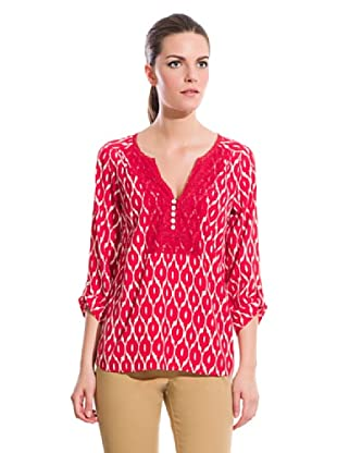 Cortefiel Camisa Sedosa Estampada (Rojo / Blanco)