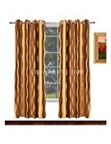 Avioni Home Fancy Brown with Golden Waves Eyelet curtain polyester Material (4 feet X 7 feet) (set of 2)