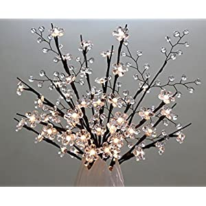 White Crystal Flowers Branch Lights with White Beaded Sprays