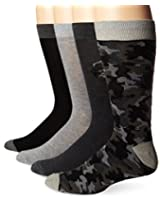 Lucky Men's 4 Pair Pack Camo Crew Socks, Black, 10-13/Shoe Size 6-12