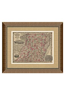 """Johnson and Ward Antique Map of PA, Virginia, Delaware & Maryland, 1860's, 28"""" x 34"""""""