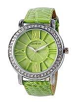 Geneva Green Leather Analog Women Watch GL 70