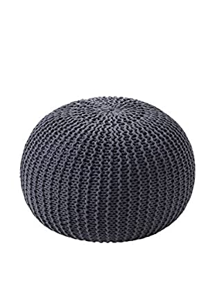 Contemporary Wood Pouf Gray