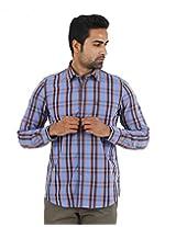 London Fog Men's Casual Shirt (8907174017655_Dark Blue_Large)