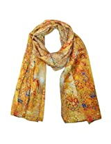 Wrapables Luxurious 100% Charmeuse Silk Long Scarf with Hand Rolled Edges, Three Ladies Motif