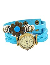 Geneva Designer Flower Collection PU Strap Analog Blue color Womens Watch