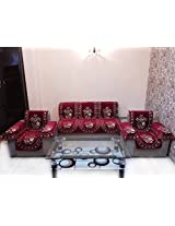 CHAHAK FLOWER CHENILLE MAROON SOFA SLIPCOVER SET WITH 6 ARMS COVER