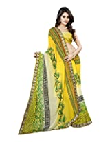 Raj Laxmi Women's Georgette Saree (Yellow)