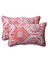 Pillow Perfect Indoor/Outdoor Summer Breeze Corded Rectangular Throw Pillow, Flame, Set of 2
