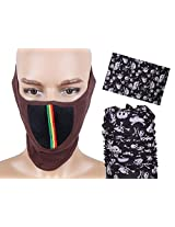 Jstarmart Brown & Black Half Face Mask Combo Bandana