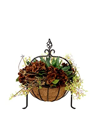 Creative Displays Brown Hydrangea in Iron Basket