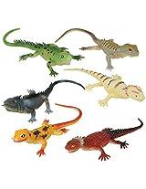 Lot 6 Pvc Soft Plastic Reptile Lizard Decoration Set