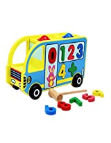 Baby Activity Multicolor Wooden Bus Educational Toy with Accessories for Ages 3+ Years