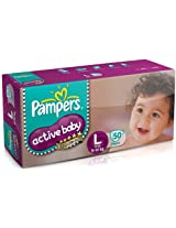 Pampers Active Baby Large Size Diapers (50 Count)