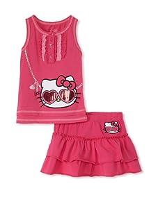 Hello Kitty Girl's 2-6X 2-Piece Applique Skirt Set (Fuchsia Purple)