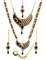 DollsofIndia Faux Garnet and Cubic Zirconia Twin Necklace Set with Mang Tika - Stone, Bead and Metal - Red, White