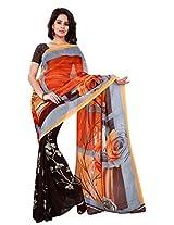 Silk Bazar Women's Faux Georgette Saree with Blouse Piece (Orange & Brown)