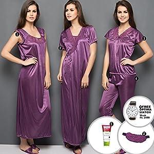 Cloe Purple Four Piece Satin Nightwear