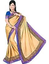 Parchayee Women's Brasso Fabric Saree (94350C, Beige, Free Size)
