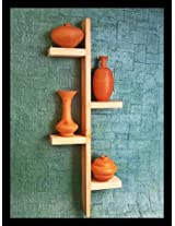 4 pots (terracotta) on Wooden hanging stand