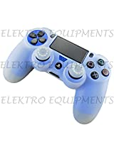 Sony PS4 Controller High Quality Protective Silicone Case White with 2 White Silicone Thumb Grips
