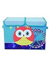 UberLyfe Blue Double Flap Kids Storage Box Wise Owl and Ferris Wheel - Large