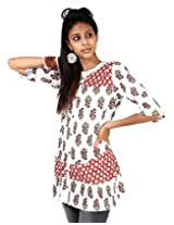 Rajrang Red And White Printed Women Tunic PTP00129