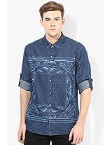 Blue Printed Slim Fit Casual Shirt Ed Hardy