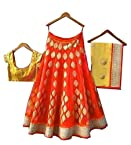 FabPandora Orange Color Womens Net Embroidered Lehenga Choli With Blouse Piece (Free Gift Worth Rs.299 with this Lehenga)