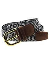 Braided Elastic Woven Stretch Belt Gold Buckle White and Solid Color Strap (Black/White-L)