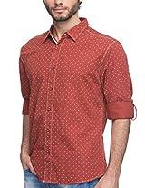 Spykar Men Cotton Rust Casual Shirt (XX-Large)