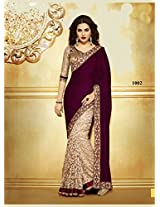 Shamiyana Creations Women Velvet Other Saree (Sc-Kesi _Maroon And Brown _Free Size)