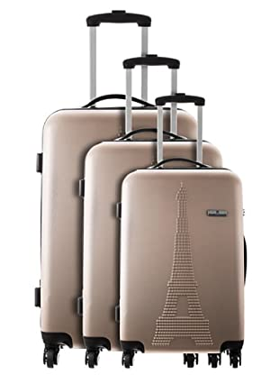 Platinium 3er Set Trolley 4 Rollen Paris (Beige)