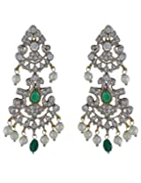 chaahat fashion jewellery Green and White Stone Pearl Earrings