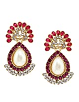 Bindhani Traditional Stylish Faux Pearl Pink Earrings For Women