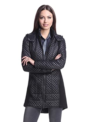 BCBGeneration Women's Quilted Coat with Knit Sides (Black)