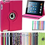 PTron iPad Mini 360 Degree Rotating PU Leather Case Cover Stand (Hot Pink)
