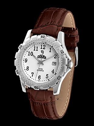Dogma G1004 - Reloj de Caballero movimiento de quarzo con correa de piel marrón