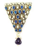 Stylish Triangular Shape Saree Pin Brooch, Simulated Kundan & Stone Stud, Blue-Ivory Kundan, , Oxidized Gold Tone with Drop