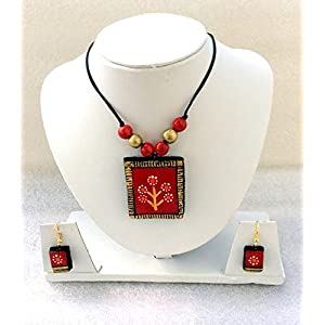 Anikalan Designs Red Tree Pendant with flower earrings Terracotta Necklace Set