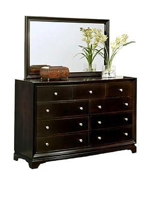 Abbyson Living Capriva 9-Drawer Dresser & Mirror Set, Dark Truffle