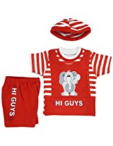 Boogie Woogie Bowo-8250-R Boy's Cotton Top & Bottom Set - (Red)