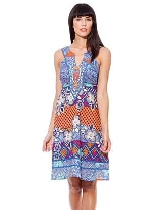 Peace & Love Vestido Abalorios (azul / turquesa / naranja)