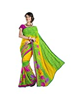 101cart Scenic Green Colored Floral Printed Faux Georgette Saree